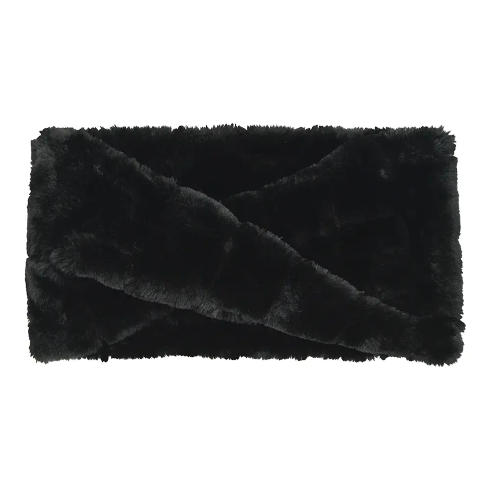 Snood in Black Faux Fur and crossover design