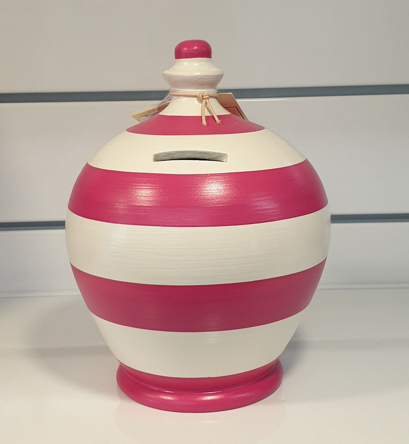 Terramundi Money Box in White and Pink Stripes (Made in Italy, Hand Painted in London)