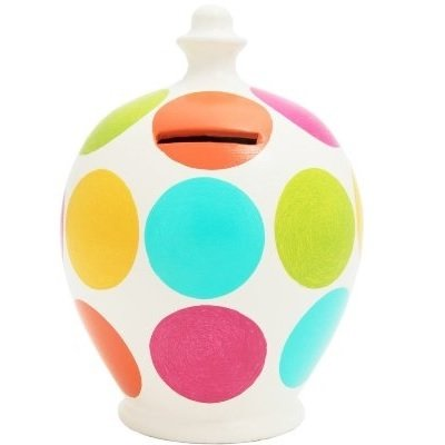 Terramundi Money Pot in multi colour spots (Made in Italy, Hand Painted in London)