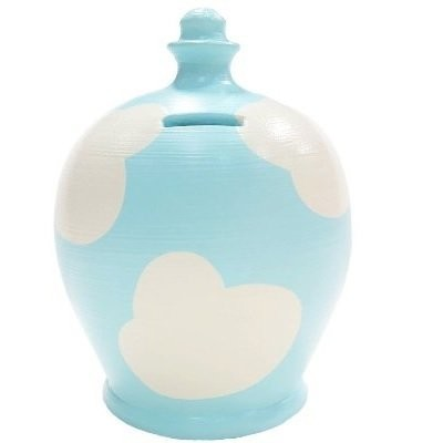 Terramundi Money Pot in Light blue with White Clouds (Made in Italy, Hand Painted in London)