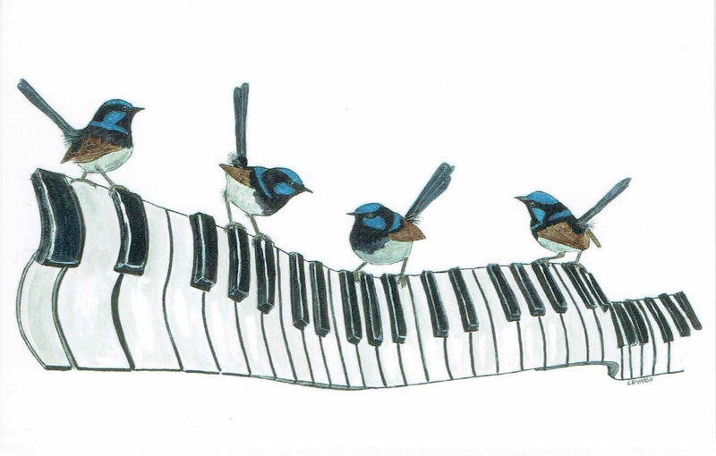 "Card ""Tickle the Ivories with Rhapsody in Blue"" by Tasmanian Artist Grant Lennox"