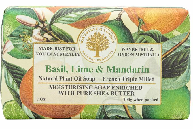 Basil, Lime & Mandarin Scented Soap by Wavertree & London