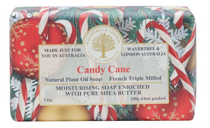 Candy Cane Christmas Scented Soap by Wavertree & London (Made in Australia)