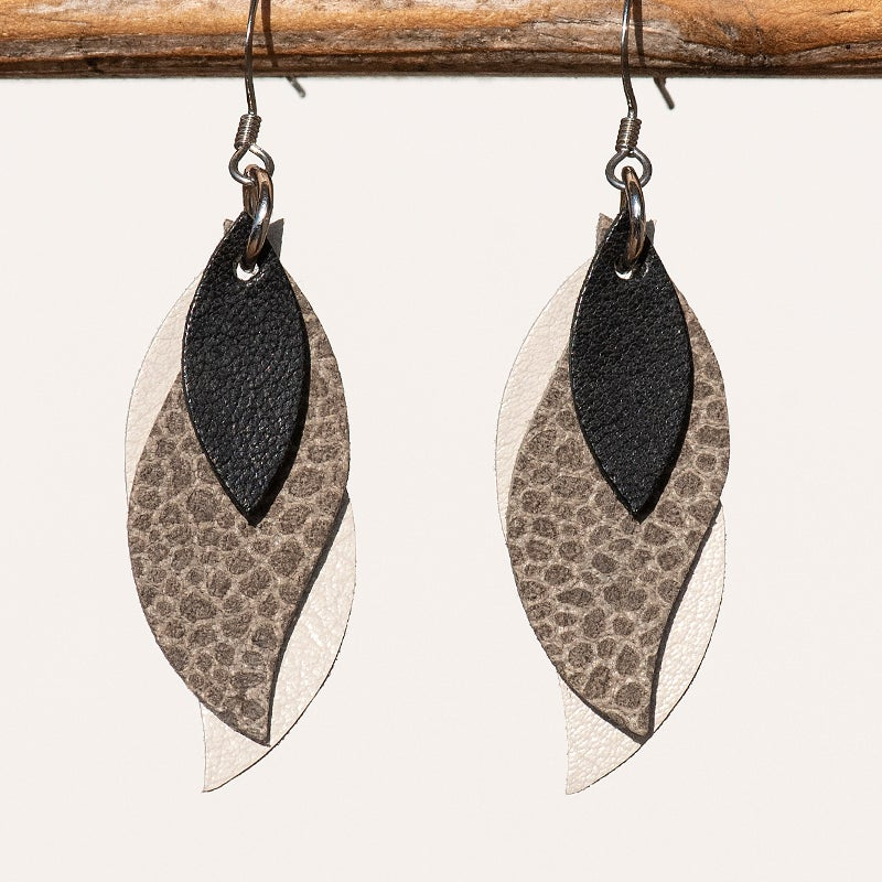 Kangaroo leather leaf earrings in black, pebble, ivory (Made in Australia)