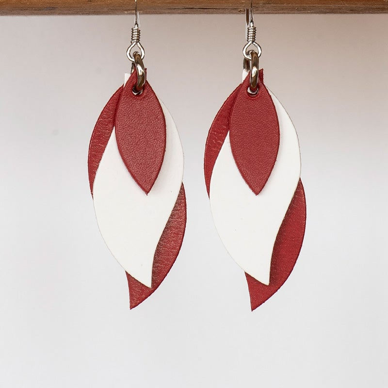 Kangaroo leather leaf earrings in red, white & rose red (Made in Australia)
