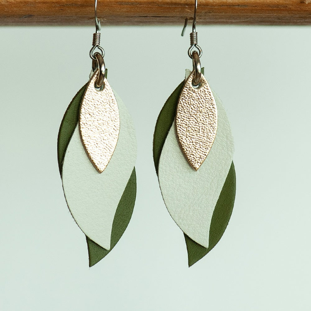 Kangaroo leather leaf earrings in gold, cream and olive (Made in Australia)