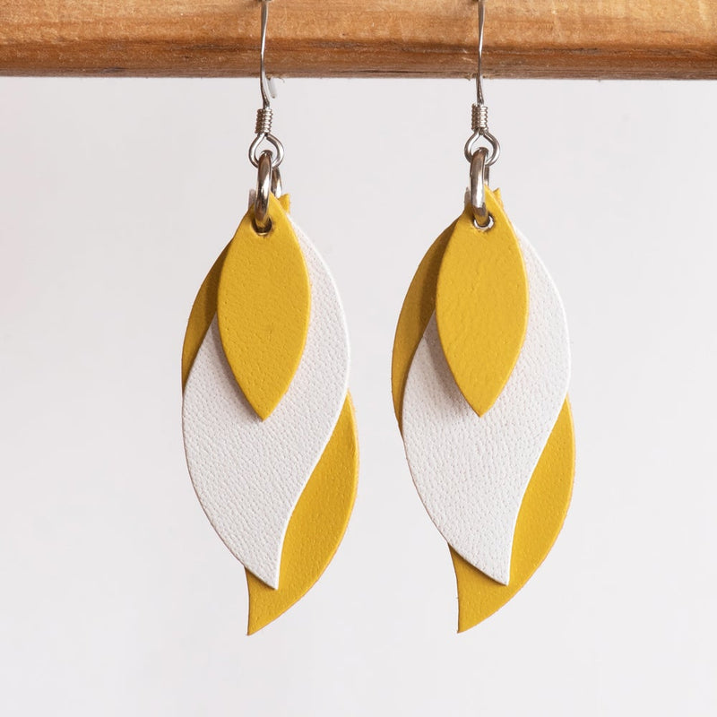 Kangaroo leather leaf earrings in yellow and white