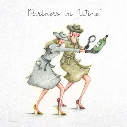 Blank Card Ladies Who Love Life - Partners in Wine!