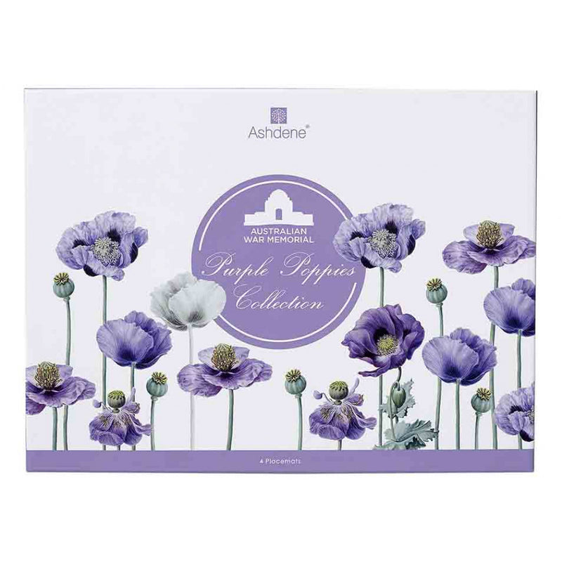 Set of 4 Purple Poppies Placemats