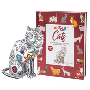 3D puzzle book on cats with colouring pens