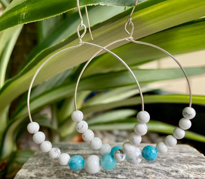 Round Drop Earrings with Hemimorphite & Howlite - Made in Tasmania