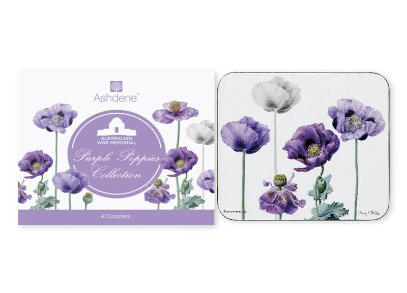 Set of 4 Purple Poppies Remembrance Coasters