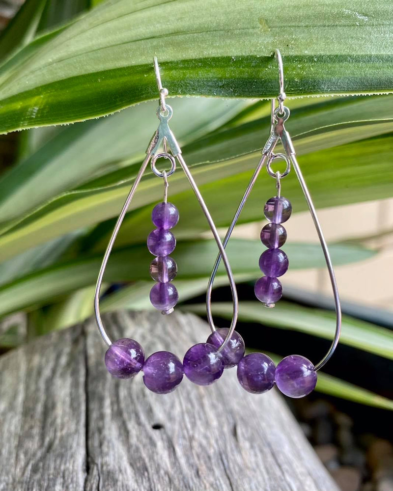 Teardrop Earrings with Amethysts - Made in Tasmania
