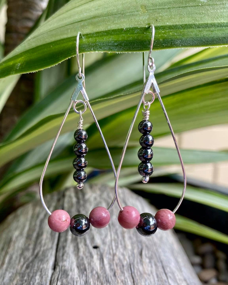 Teardrop Earrings with Rhodonite & Black Onyx - Made in Tasmania