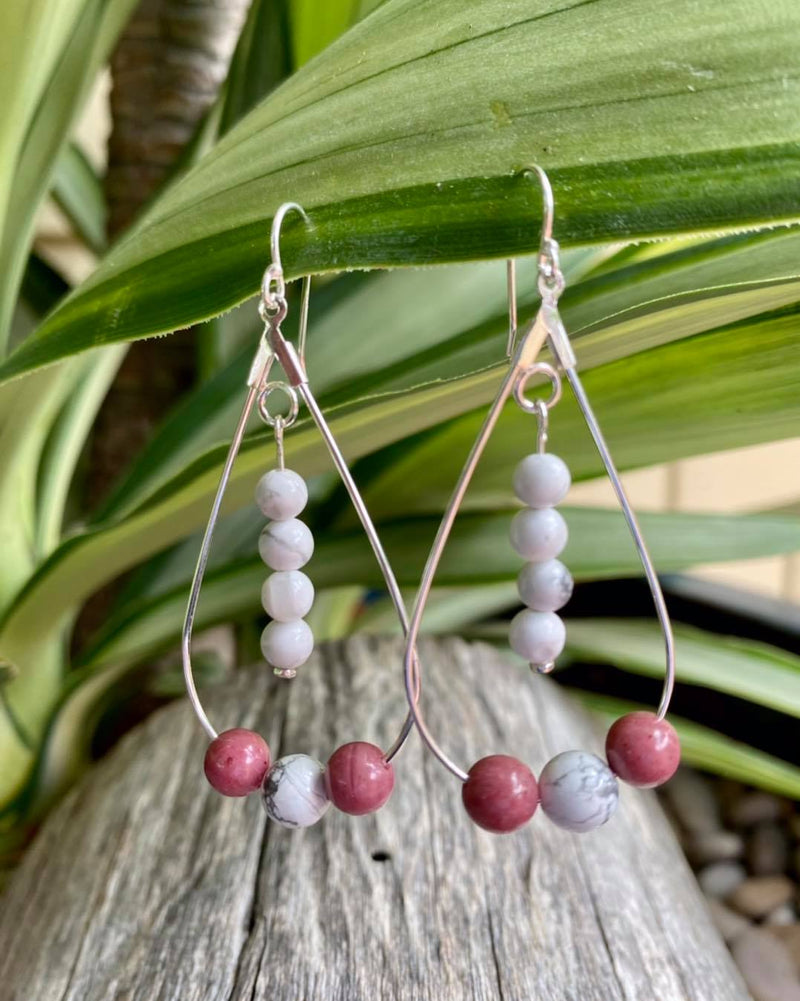 Teardrop Earrings with Rhodonite & Howlite - Made in Tasmania