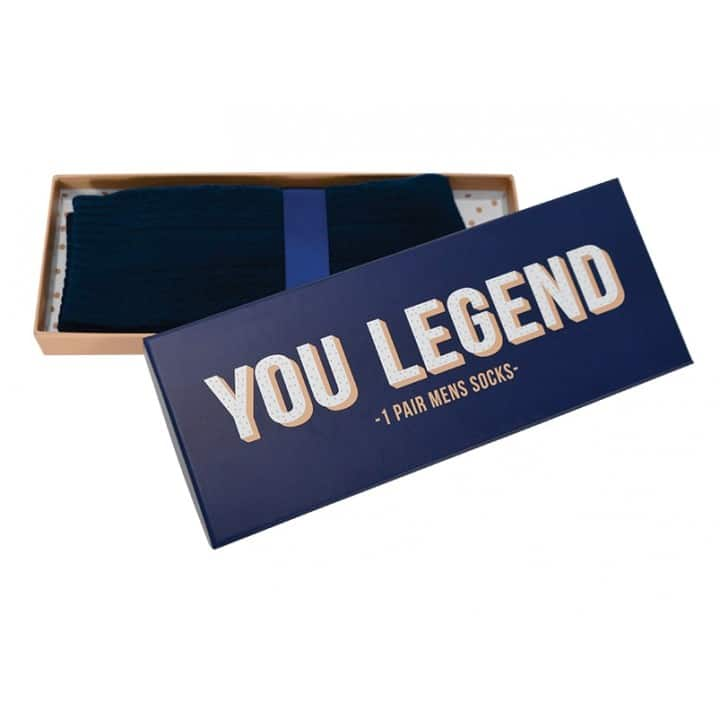 Mens Socks in Blue - 'You Legend' - Gift Boxed