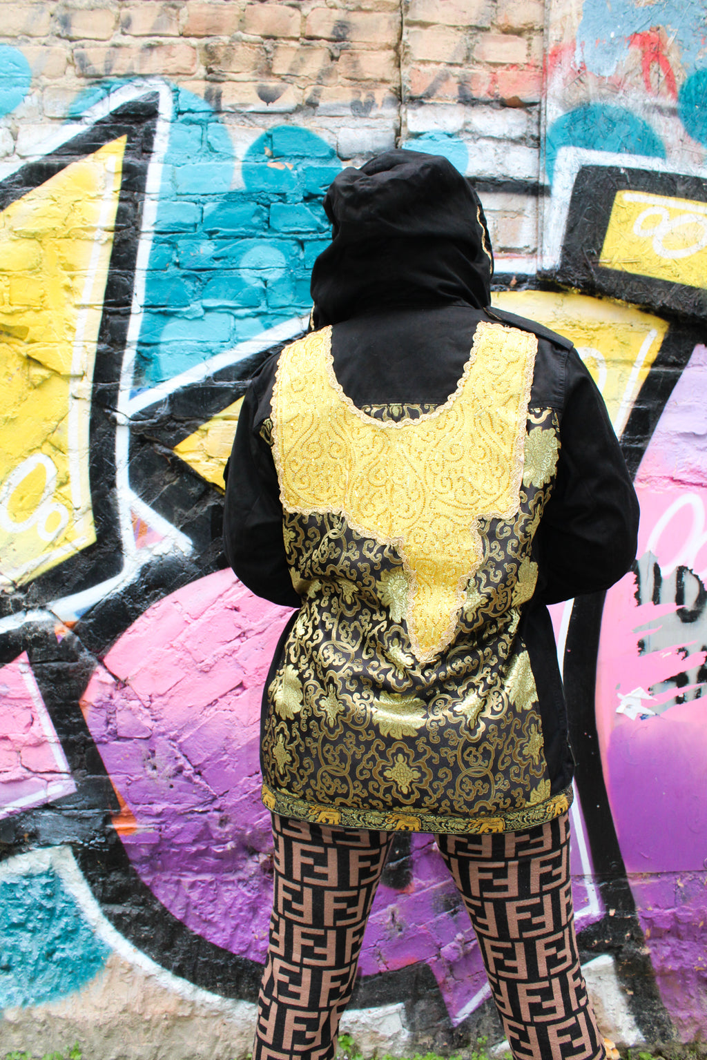 Black and Yellow Winter Parka
