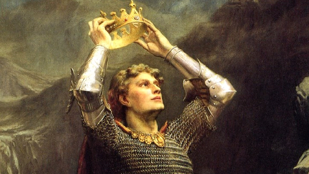 king arthur holding a crown