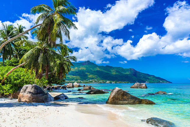Tropical Beach With Large Rocks