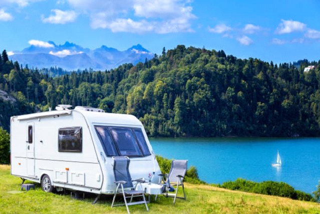 caravan rv with beautiful background