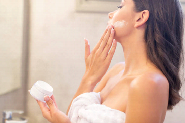 face cream application in the shower