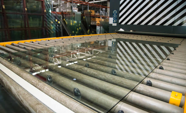 glass in industrial warehouse