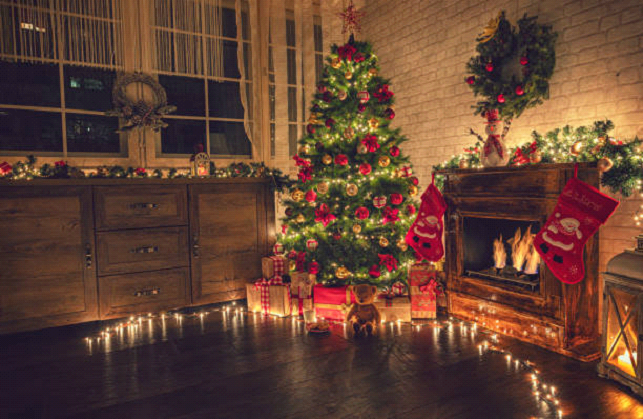 cozy christmas decor with fireplace