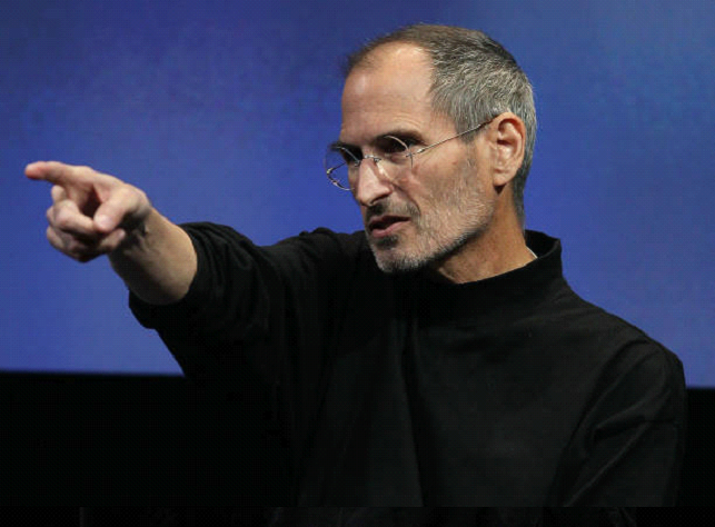 steve jobs pointing at press conference