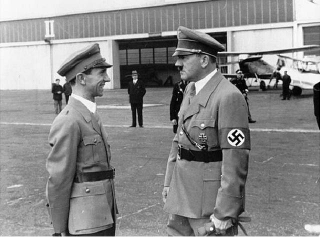 Black and white hitler with soldier
