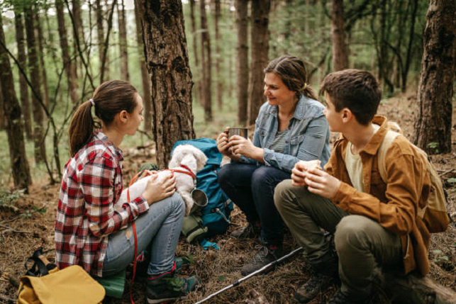 eating in the woods with friends