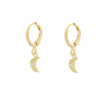 Load image into Gallery viewer, Moon Hoop Earrings