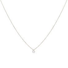Load image into Gallery viewer, silver-toned, white rhodium-plated chain with a cubic zirconia spot