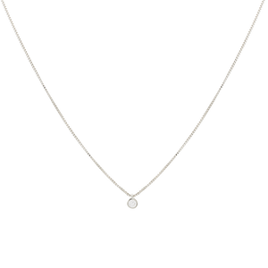 silver-toned, white rhodium-plated chain with a cubic zirconia spot