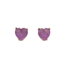 Load image into Gallery viewer, Stud hearts shape on gold plated with purple fusion stones. Anchoring: traditional screw (push back)