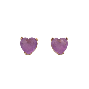 Stud hearts shape on gold plated with purple fusion stones. Anchoring: traditional screw (push back)