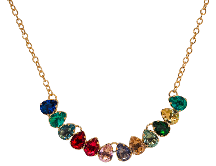 Gold plated chain necklace with drop-shaped multicolour cubic zirconias. The stones are dark blue, aqua green, red, light red and pink, light blue, yellow and dark green.