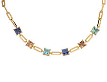 Load image into Gallery viewer, Gold plated chain choker, featuring fusion cubic stones in blue, pink & light peach or green, blue & light peach.