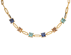 Gold plated chain choker, featuring fusion cubic stones in blue, pink & light peach or green, blue & light peach.