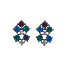 Load image into Gallery viewer, Black rhodium-plated studs with clear cubic zirconias on the top and middle, dark blue on the left top and right bottom, aqua blue cubic zirconias on the right top and left bottom and cubic magenta zirconia on the bottom.