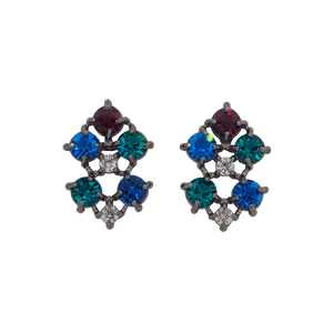 Black rhodium-plated studs with clear cubic zirconias on the top and middle, dark blue on the left top and right bottom, aqua blue cubic zirconias on the right top and left bottom and cubic magenta zirconia on the bottom.