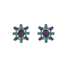 Load image into Gallery viewer, White rhodium-plated earrings has a sun shape made with eight tear-drop-shape in green and blue and big oval purple zirconia in the middle. Anchoring: traditional screw (push back).