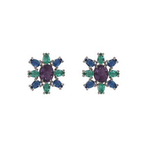 White rhodium-plated earrings has a sun shape made with eight tear-drop-shape in green and blue and big oval purple zirconia in the middle. Anchoring: traditional screw (push back).