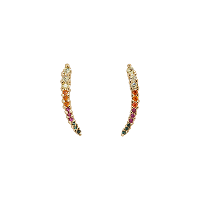 Vertical gold plated earrings with multi-coloured (rainbow colours) cubic zirconias stones. Traditional screw anchoring.
