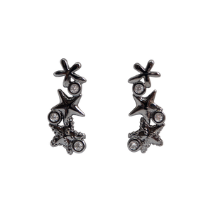 Black rhodium-plated earrings, featuring three beautiful starfishes with three clear zirconias stones. Anchoring: traditional screw (push back).