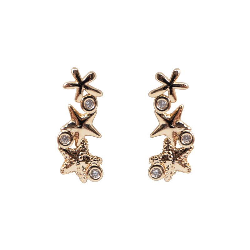 Gold earrings, featuring three beautiful starfishes with three clear zirconias stones. Anchoring: traditional screw (push back).