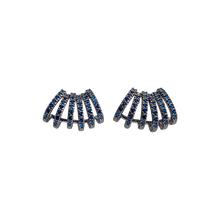 Load image into Gallery viewer, Six half hoops earrings, they are black rhodium-plated with royal blue cubic zirconias. Anchoring: traditional screw (push back).