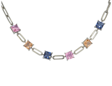 Load image into Gallery viewer, White-rhodium plated chain choker, featuring fusion cubic stones in blue, pink & light peach or green, blue & light peach.