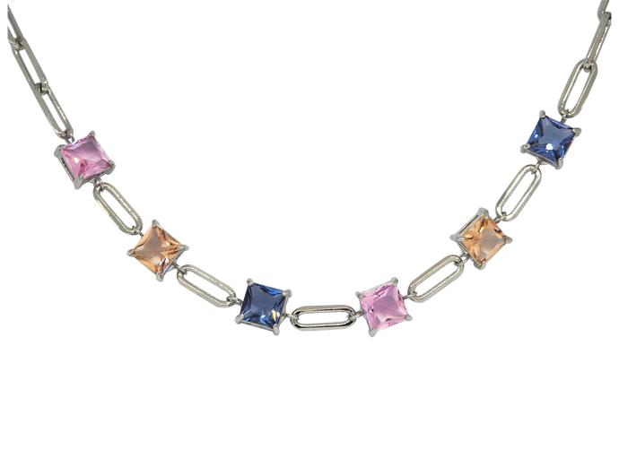 White-rhodium plated chain choker, featuring fusion cubic stones in blue, pink & light peach or green, blue & light peach.