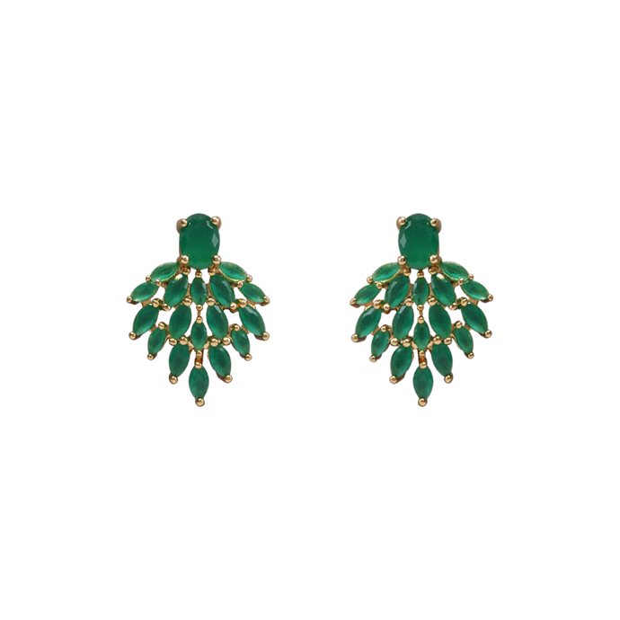 Gold plated stud earrings with a big oval green zirconia stone and many same green colour small stones towards down. Anchoring: traditional screw (push back).