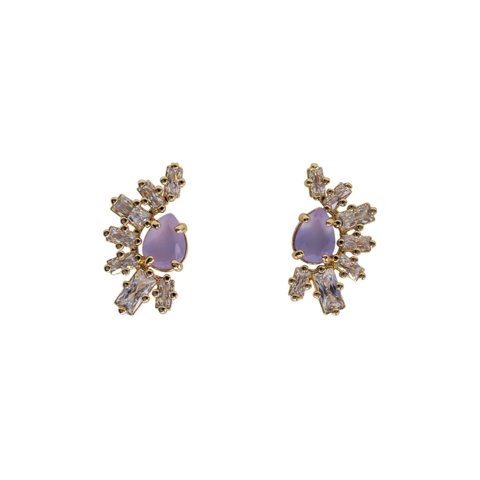 Gold plated earrings with a tear-drop purple stone in the middle half-rounded with seven clear rectangle zirconias stones.